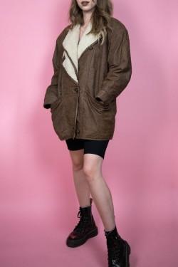 Hnedá kožená vintage bunda - M