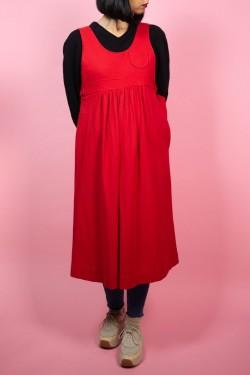 Červené vlnené vintage šaty - S/M