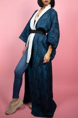Modré japonské kimono s bielym detailom - UNI