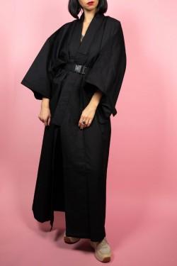 Čierne japonské kimono - UNI