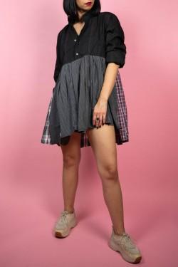 Krátke košeľové šaty Upcyklové čierno-sivé- UNI