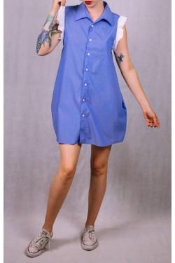Modré košeľové šaty - Upcyclové
