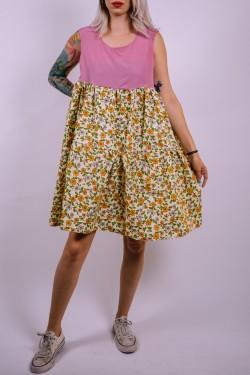 Kvetované šaty Upcyclové s ružovým vrchom