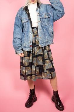 Denimová vintage zateplená bunda - XL
