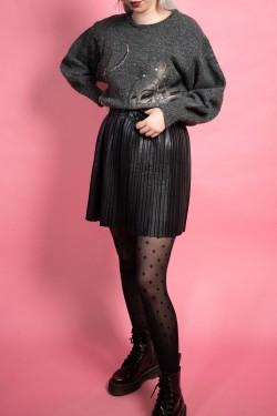 Sivý vintage sveter s motívom ženy - M/L