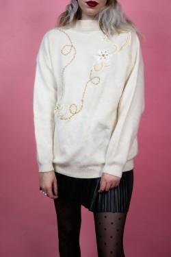 Biely vintage sveter s kvetom z korálok - L/XL