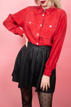 Červená hodvábna vintage košeľa - L