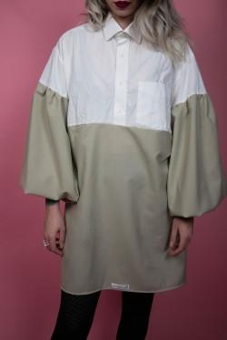 Šaty Upcyklové biela & khaki - M/L