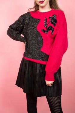 Cyklámenovo-sivý vintage sveter s kvetom - M/L