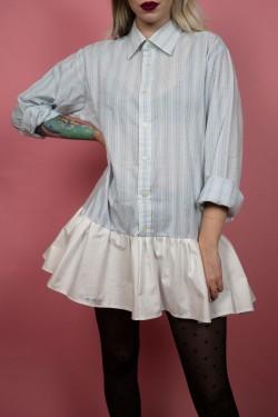 Košeľové šaty Upcyklové s volánom modro-biele - S/M