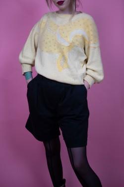 Žltý vintage sveter s aplikáciami - M/L