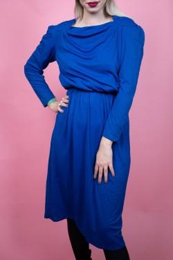Modré vintage šaty s náplecníkmi s ozdobnou aplikáciou - M