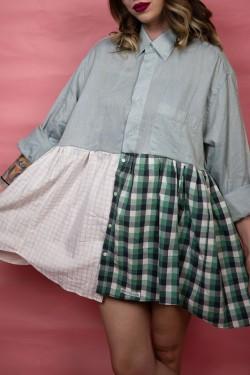 Krátke košeľové šaty Upcyklové zelené - UNI