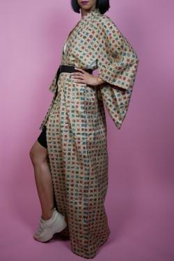 Vzorované béžové japonské kimono - UNI