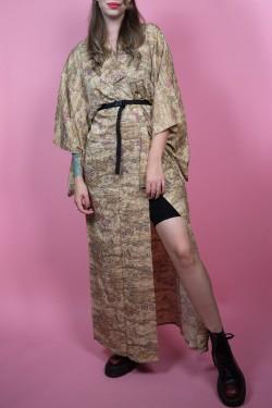 Béžové japonské kimono s krajinkou