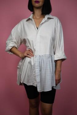 Biela kockovaná košeľa Upcyklové - UNI