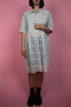 Upcyklové pásikavá košeľa/šaty so záclonovým spodkom - UNI