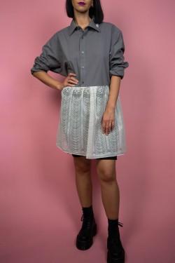 Upcyklové košeľa so záclonovým spodkom sivá - UNI