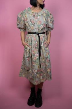 Sivé kvetované bavlnené vintage šaty - L/XL