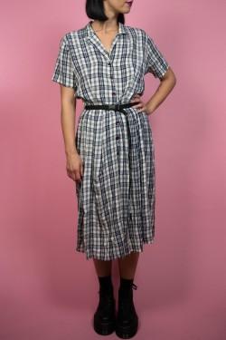 Kárované vintage šaty bielo-modré - M