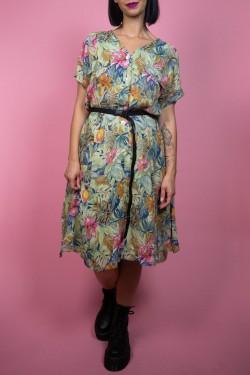 Viacfarebné kvetované vintage šaty - L/XL