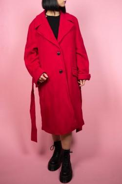 Červený vlnený vintage kabát - UNI